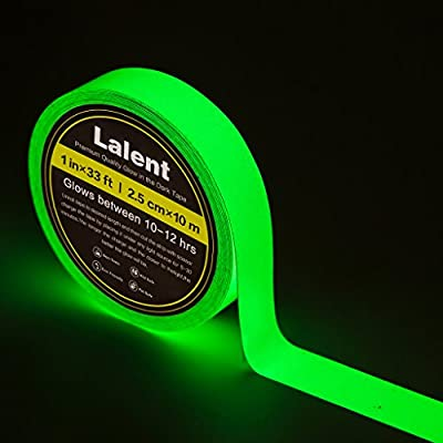 "Glow in the Dark Tape Sticker - 33' Length x 1"" Width - Green Luminous Duct Tape High Luminance for 10 hours, Photoluminescent, Removable, Waterproof"