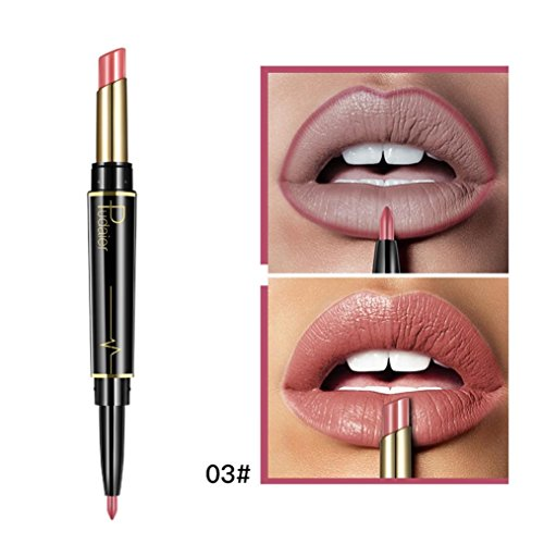 (Double Color Lipstick, Double-ended Lipstick Witspace Lasting Lipliner Waterproof Lip Pencil (C) )