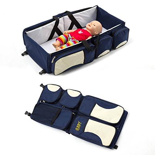 Binglinghua 3in1 Crib Bassinet Portable Nursery Bed Diaper Bag Baby Infant Foldable Travel (Blue) by Binglinghua®