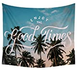 SYTX Palm Trees Tapestry Sunset Decor by Ambesonne, Bedroom Living Kids Girls Boys Room Dorm Accessories Wall Hanging Tapestry, Summer Holiday and Beach Vintage Style Picture Print 3 a