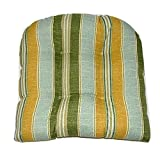 Universal Tufted U-shape Cushion for Wicker Chair Seat - Mist Spa Green Gold Jamaican Stripe