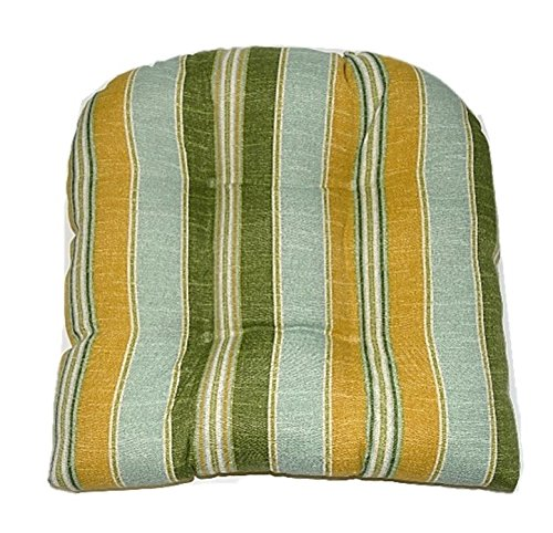 Universal Tufted U-shape Cushion for Wicker Chair Seat - Mist Spa Green Gold Jamaican Stripe by Resort Spa Home Decor