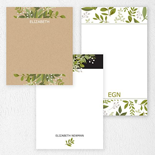 Custom Greenery Note Pad Set Personalized Stationery - 50 sheets per note pad - 3 designs and sizes:4.25x5, 4.25x6, 4.25x7. Made in the USA. Custom 50 Sheet Notepads