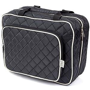 Ellis James Designs Large Travel Toiletry Bag for Women with Hanging Hook, Black, Big Wash Bag - Hair Dryer Case - Multi-use Toiletries Kit Cosmetics Makeup XL Bathroom Organizer Suitcase Luggage