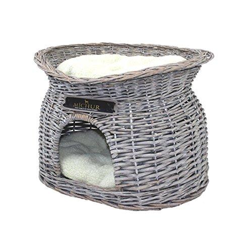 MICHUR Richy, Katzenhöhle, Hundehöhle, Katzenkorb, Hundekorb, WEIDE, Rattan, Natur, ca. 55x39x43cm (Liegefläche ca. 40x28cm), Katzenkorb aus Weide Grau Katze