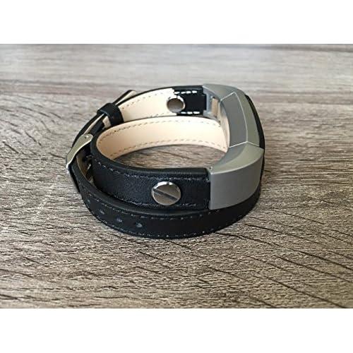 2tours Noir classique Bande de cuir pour Fitbit Alta et Alta HR fait main écologique Bracelet Argent avec rivets en BSI