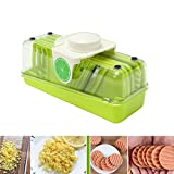 TAPCET 8 in 1 Multi-Function Food Slicer Mandolin Vegetable Slicer/Peeler/Shredder, Fruit and Cheese Cutter, 3 Interchangeable Blades + Food Container + Wave-Slicer&Press Crusher + Peeler + Hand Prote