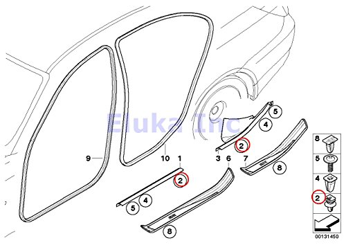 8 x BMW Genuine Clip With Seal Ring - Door Sill Strip (Beige) 525i 525xi 530i 530xi 545i 550i M5 528i 528xi 535i 535xi 550i 530xi 535xi 645Ci 650i M6 650i M6 X5 3.0si X5 3.5d X5 4.8i X5 M X5 35dX X5 35iX X5 50iX X6 35iX X6 50iX X6 M Hybrid X6 128i 135i M Coupé Active e X1 28i X1 28iX X1 35iX 323i 325i 325xi 328i 328