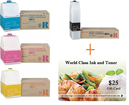 (WCI Value Pack of (4) Genuine Ricoh Brand Type 160 Toner Cartridges for Ricoh Aficio CL7200/CL7300 + FREE $25 Restaurant Gift Card. (1) each: BK(888442); CY(888445); MA(888444); YE(888443).)
