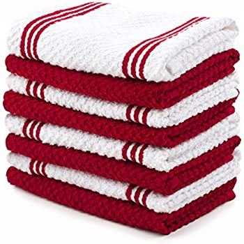 Sticky Toffee Cotton Terry Kitchen Dishcloth, Red, 8 Pack, 12 in x 12 in