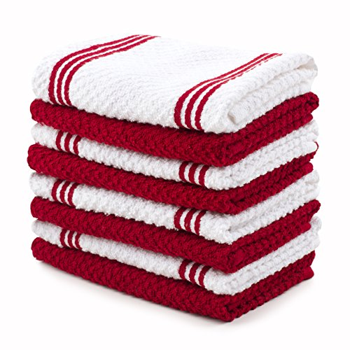 Sticky Toffee Cotton Terry Kitchen Dishcloth, Red, 8 Pack, 12 in x 12 in by Sticky Toffee