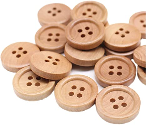50 Pcs Mixed Wooden Buttons Natural Color Round 4-Holes Sewing Scrapbooking Kit