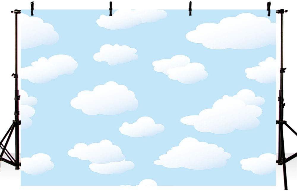 MEHOFOND Mehofoto Toile de Fond pour Studio Photo Bleu Ciel et Nuages Blancs D/écoration de f/ête danniversaire pour gar/çon Baby Shower Banni/ère pour d/écoration de Table de g/âteaux 2,1 x 1,5 m