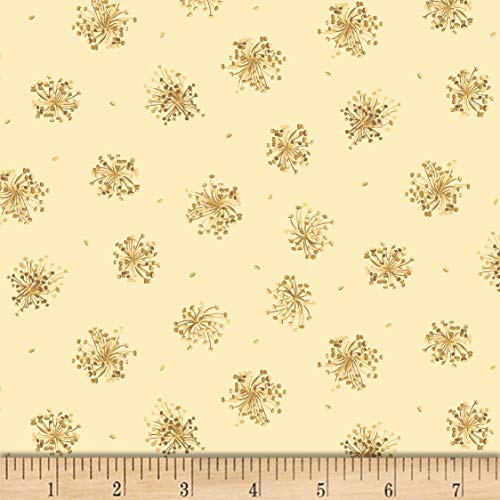 Maywood Studio English Countryside Queen Anne's Lace Fabric, Soft Yellow, Fabric By The Yard