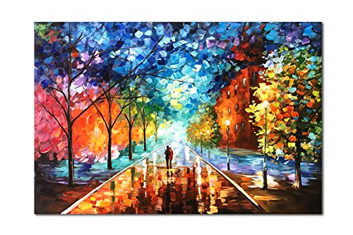 Diathou 24x36 inches 100% Hand Painted Oil Painting Lovers Stroll The Colorful Streets Oil Painting canvases Abstract Works of Art Wood Carving Interior Frame Wall Hanging Decorative Oil Paintings