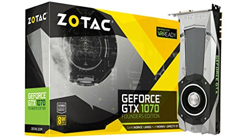 ZOTAC GeForce GTX 1070 Founders Edition 8GB GDDR5 VR Ready Gaming Graphics Card ( ZT-P10700A-10P) (Renewed)