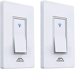 MoKo Smart Switch WiFi Light Switch with Remote Control and Timer Schedule, Work with Alexa/Google Home/SmartThings, Neutral Wire Required, Easy Installation, Only Supports 2.4GHz Network, 2 Pack