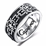Caperci Christian Vintage Artistic Sterling Silver Men's Band Ring Size 8