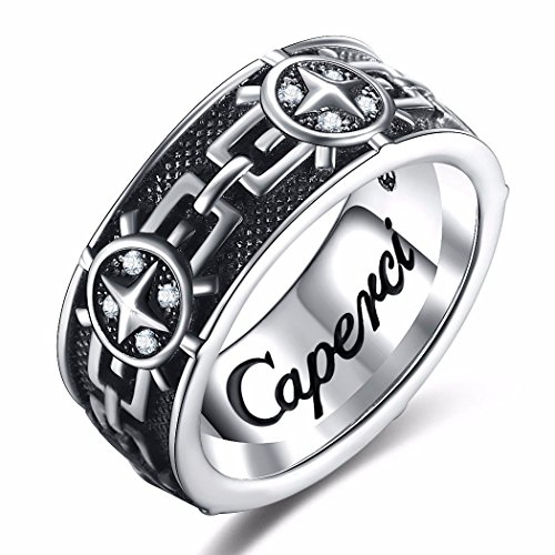 Caperci Christian Vintage Artistic Sterling Silver Men's Band Ring Size 9