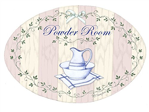 The Stupell Home Decor Collection Powder Room Pink Stripe Pitcher and Bowl Oval Bathroom Wall Plaque