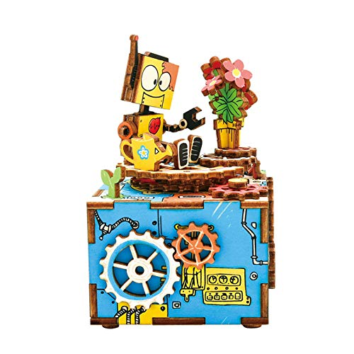 (Rolife Hand Crank Music Box Machinarium-DIY Wood Craft Kit-3d Wooden Puzzle-Creative Gift for Boys and Girls When Christmas/Birthday/Valentine's Day (Machinarium))