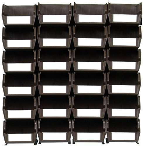 Triton Products LocBin 3-210BRWS Wall Storage Unit with  Interlocking Poly Bins Wall Mount Rails 8-3/4-Inch L and Hardware, 24-Count, Brown, 26-Piece by Triton 2