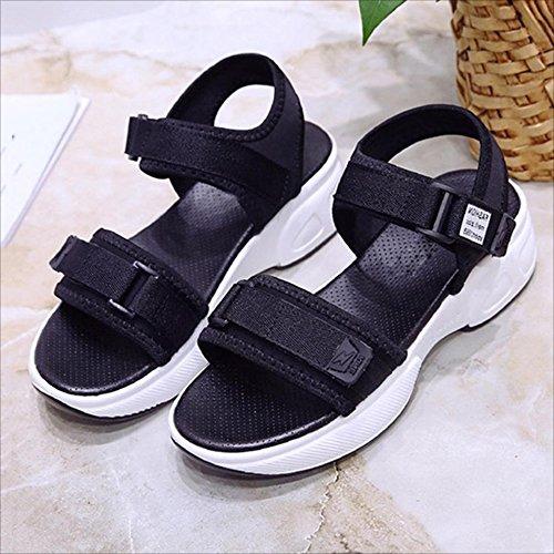PENGJUN Sandalias Zapatos de Plataforma Femeninos Sandalias de Fondo Gruesas Zapatos de Mujer Casuales de Verano Zapatos Romanos (Color : Negro, Tamaño : EU36/UK3.5/CN35) Negro