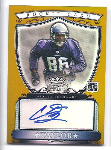 COURTNEY TAYLOR 2007 Bowman Sterling Gold Autographs #CT AUTOGRAPH RC Rookie Card Numbered to only 1800 Made! Seattle Seahawks Football