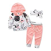 Askwind Baby Girls Floral Hoodie+ Floral Pant Set Leggings 2 Piece Outfits (6-12 Months, Pink)