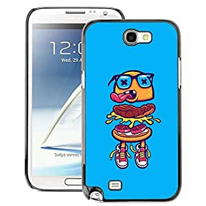 A-type Arte & diseño plástico duro Fundas Cover Cubre Hard Case Cover para Samsung Note 2 N7100 (Hamburger Blue Glasses Fast Food Street)