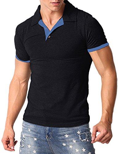 MODCHOK Men's Polo Shirt Short Sleeve T Shirts Cotton Tee Button Slim Fit Tops Black L