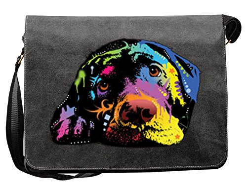 Pop Art Canvas ::: Lying Lab ::: peppige Umhängtasche mit Art Style Hunde Motiv