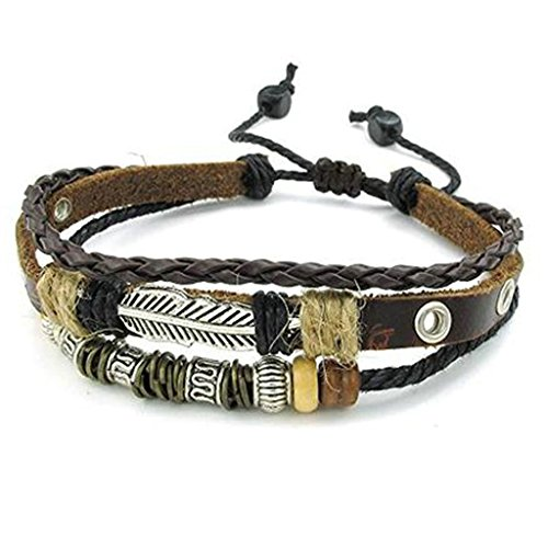 MoAndy Leather Charm Bracelet for Men Braided Wrist Cuff, (Adjustable) 7-11 inches