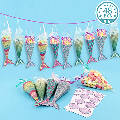 (OurWarm 48pcs Mermaid Gift Bags Colorful Mermaid Party Favor Bags with Shell Thank You Stickers for Kids Birthday Party Decorations Mermaid Party)