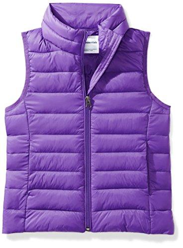 (Amazon Essentials Big Girls' Lightweight Water-Resistant Packable Puffer Vest, Dark Purple, Medium)
