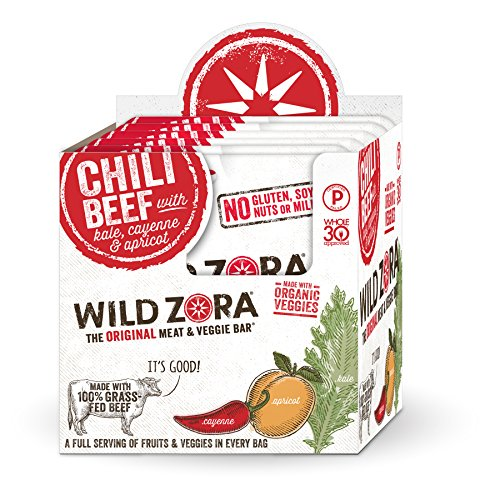 Veggie Chili - Chili Beef - Meat and Veggie Bars (10-pack) are made from 100% grass-fed beef. They're keto-friendly snacks that are grain and gluten free, Whole30 Approved and Paleo Certified.