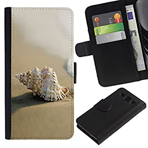 Ihec-Tech / Flip PU Cuero Cover Case para Samsung Galaxy S3 III I9300 - Sea Shell Beach Sand Macro
