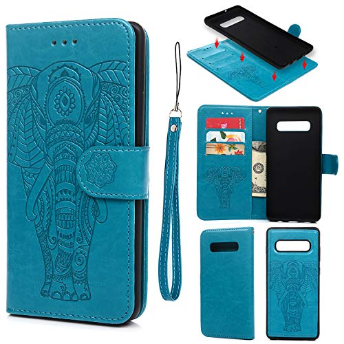 Galaxy S10 Plus Case, Wallet Case PU Leather Embossed Elephant Pattern Multi-Function Magnetic Removable Flip Case Cover Card Slots Cash Clip for Galaxy S10 Plus, Blue - Embossed Elephant