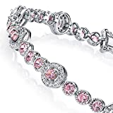 925 Sterling Silver Brilliant Simulated Pink & White Diamond Tennis Bracelet