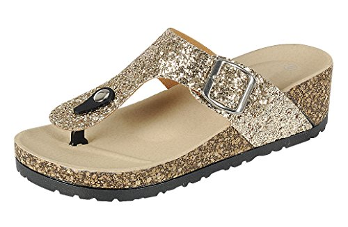 Cambridge Select Femmes Paillettes T-strap Boucle Thong Slip-on Plate-forme Chunky Wedge Sandale Or