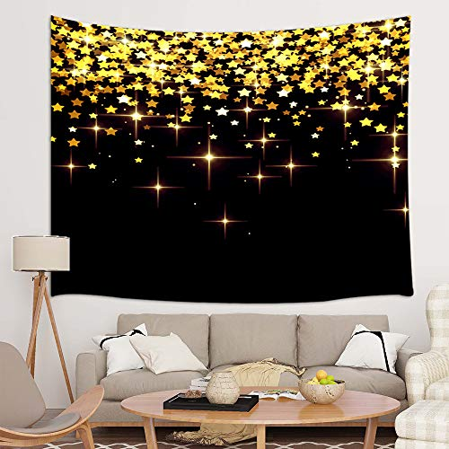JAWO Sparkling Glitter Tapestry Wall Hanging, Golden Glittering Stars Black Background Premium Tapestries for Dorm Living Room Bedroom, Wall Blanket Beach Towels Home Decor 71X60 Inches