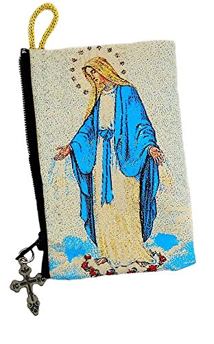 Zippered Rosary Case - Alexandra Int'l Catholic Our Lady of Grace Icon Symbol of The Blessed Virgin Mary Tapestry Cloth Rosary Pouch Case 4 1/2 Inch