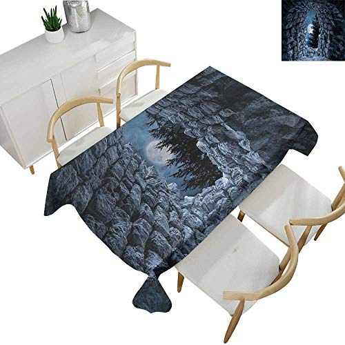 Gothic,Tablecloth Factory Dark Cave with The Light of Full Moon at Night Scary Horror Medieval Gothic Artwork Waterproof Table Cover for Kitchen Blue Grey 70