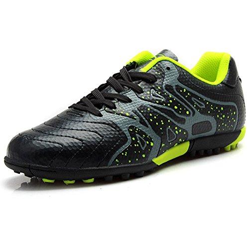 Tiebao Niño Difícil Suelo Artificial Velocidad PU Cuero Fútbol Zapatos Negro