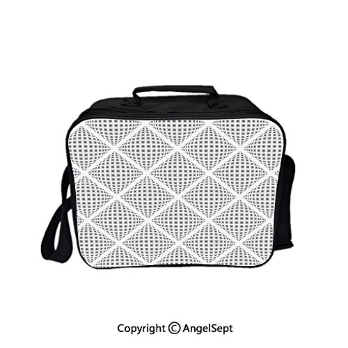 Travel Picnic Lunch Box Wide Open Lunch,Digital Geometric Volumetric Diamond Form with Dynamic Dashed Effects Web Lines Image White 8.3inch,Lunch Bags For Unisex Adults