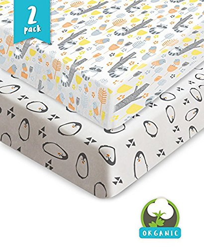 Pickle & Pumpkin Premium Graco Pack n Play Mattress Sheet | 100% Organic Jersey Cotton Pack and Play Fitted Sheet | 2 Pack | Perfect for Graco Playard and Playpen (Knit Fitted Porta Crib Sheet)