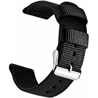 OLLREAR Canvas Watch Strap Replacement Woven Fabric Watch Band -13 Colors & 4 Sizes - 18mm, 20mm, 22mm, 24mm (18mm, Black)