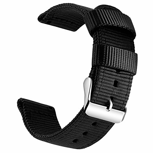 OLLREAR Canvas Watch Strap Replacement Woven Fabric Watch Band -13 Colors & 4 Sizes - 18mm, 20mm, 22mm, 24mm (22mm, Black) -