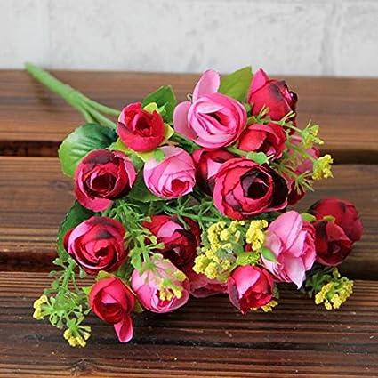 OSYARD Wohnaccessoires & Deko Kunstblumen,Künstliche Seiden-Blumen mit Stielen und Blättern,Pastoraler Stil Gefälschte Blumen