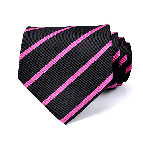 LUISDAN Stripe Tie Jacquard Woven Microfiber Formal Men's Neckties - Various Styles (Black&pink)